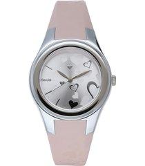 broadway - orologio cinturino rosa in policarbonato, quadrante e cassa argento per donna