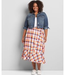 lane bryant women's faux-wrap ruffle a-line skirt 22/24 soiree plaid