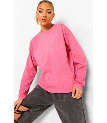 acid wash gebleekt shirt met lange mouwen, bright pink