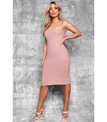 plus bandeau fitted midi dress, mauve