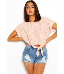 broderie anglaise tie front crop top, nude