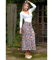 falda larga arabescos outfit 4002 para mujer multicolor