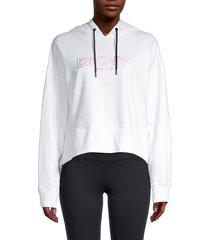 dkny women's logo cropped hoodie - white - size xl