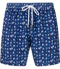 barba palm print swim shorts - blue