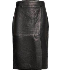 lauretta leather knälång kjol svart dagmar