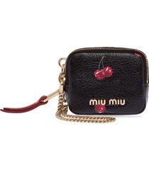 miu miu madras cherry-print purse - black