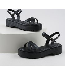 sandália feminina oneself flatform tratorada preta