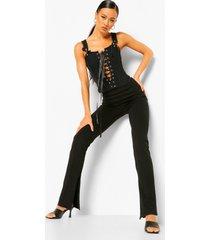 broek met rechte pijpen met naad details en voorsplit met rits, black