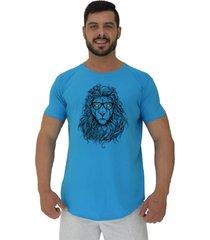 camiseta longline alto conceito lion azul piscina - azul - masculino - algodã£o - dafiti