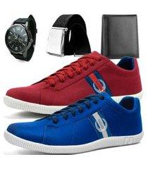 kit 2 pares de sapatênis casual dhl polo masculino vermelho e azul  + relógio + cinto + carteira