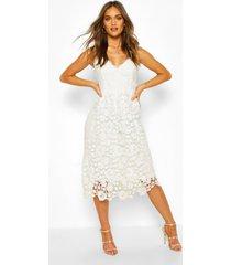 gehaakte midi jurk met kant en bandjes, wit