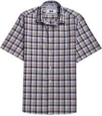 joseph abboud navy & brown plaid short sleeve sport shirt