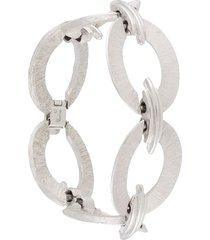 susan caplan vintage 1970s trifari chain-link bracelet - silver
