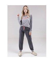 pijama longo feminino chumbo/cinza