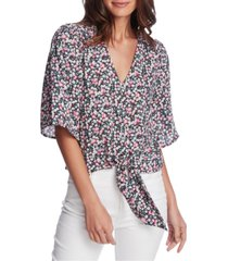 1.state plus size floral-print tie-front blouse