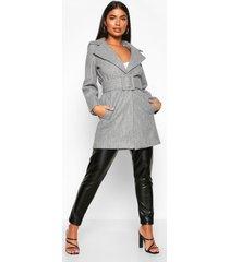 petite self belted wool look coat, grey