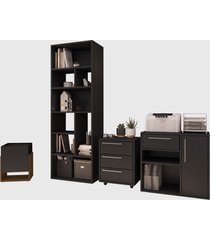 conjunto para escritório 02 livreiro/balcáo multiuso/gaveteiro/cachepô preto modern office e estilare móveis - tricae