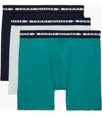 tommy hilfiger men's comfort + boxer brief 3pk navy blazer/blue glass/bay - l