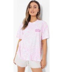 oversized tie dye t-shirt met borstopdruk, pink