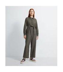 macacão longo em algodão com botões e cinto faixa pespontado | insecta | cinza | m