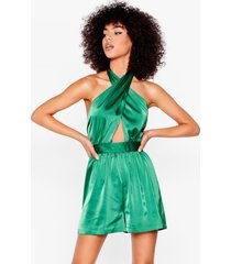 womens cut-out in the open satin halter romper - green