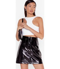 womens the vinyl destination utility mini skirt - black