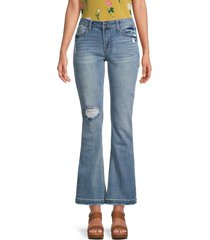 kensie women's mid-rise bootcut jeans - blue - size 31 (12)