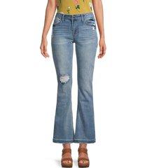 kensie women's mid-rise bootcut jeans - blue - size 28 (6)
