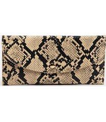 jade snakeskin clutch wallet - beige