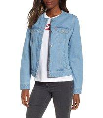 women's levi's collarless denim trucker jacket, size small - blue