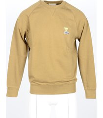 maison kitsuné designer sweatshirts, men's camel sweatshirt