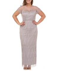 plus size women's js collections illusion yoke beaded column gown