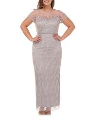 plus size women's js collections illusion yoke beaded column gown, size 24w - metallic