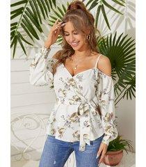 blusa de manga larga con diseño de abrigo con estampado floral al azar