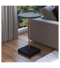 mesa para sala de estar artesano lateral mdp marquina e cobre