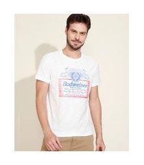 camiseta masculina budweiser manga curta gola careca branco