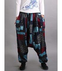 pantaloni di lanterna delle donne elastiche della vita della patchwork di stampa etnica