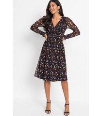 gedessineerde mesh jurk met smokwerk