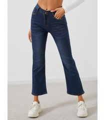 bolsillos laterales micro acampanado de cintura media jeans