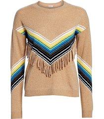 minnie rose women's cashmere multi stripe fringe crewneck - black combo - size xs