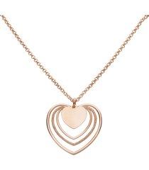collana in ottone e glitter con ciondolo a forma di cuore per donna