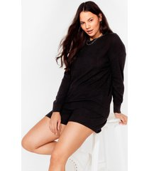 womens bed head sweatshirt and shorts plus lounge set - black
