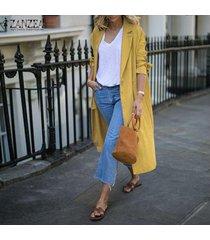 zanzea mujeres spring llanura escudo básico cardigan abrigo largo chaqueta de traje -amarillo