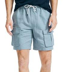 "nautica men's 8"" linen cargo shorts"
