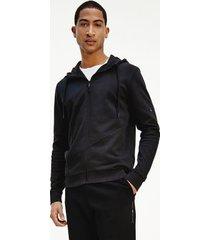 tommy hilfiger men's organic cotton crinkle ripstop hoodie jet black - m