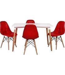 conjunto mesa de jantar impã©rio brazil eiffel - incolor/vermelho - dafiti