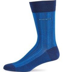 boss hugo boss men's striped stretch cotton mid-calf socks - blue