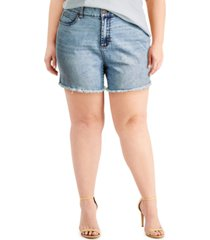 celebrity pink plus size frayed high-rise denim shorts