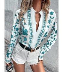camicetta da donna con colletto alla coreana a maniche lunghe con bottoni con stampa di piante