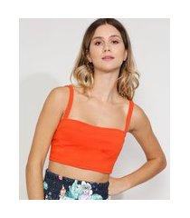 top cropped feminino com recorte alça média decote princesa laranja